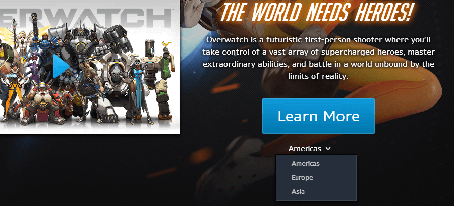 Változás a Battle.Net Launcher-ben: Overwatch régiók